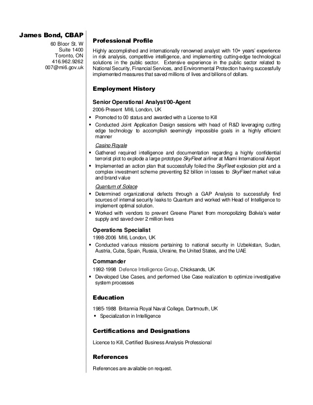 business analyst resume sample james specialist toronto skills you can write on your Resume Resume Specialist Toronto