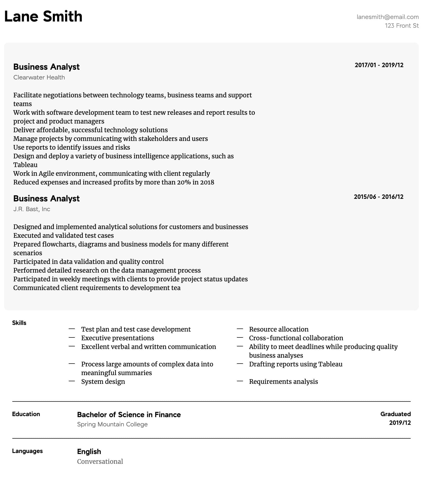 business analyst resume samples all experience levels for experienced intermediate Resume Resume For Experienced Business Analyst
