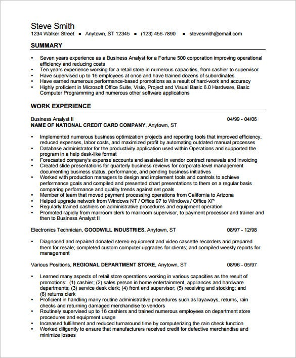 business analyst resume template free samples examples format premium templates for Resume Resume Format For Business Analyst Fresher