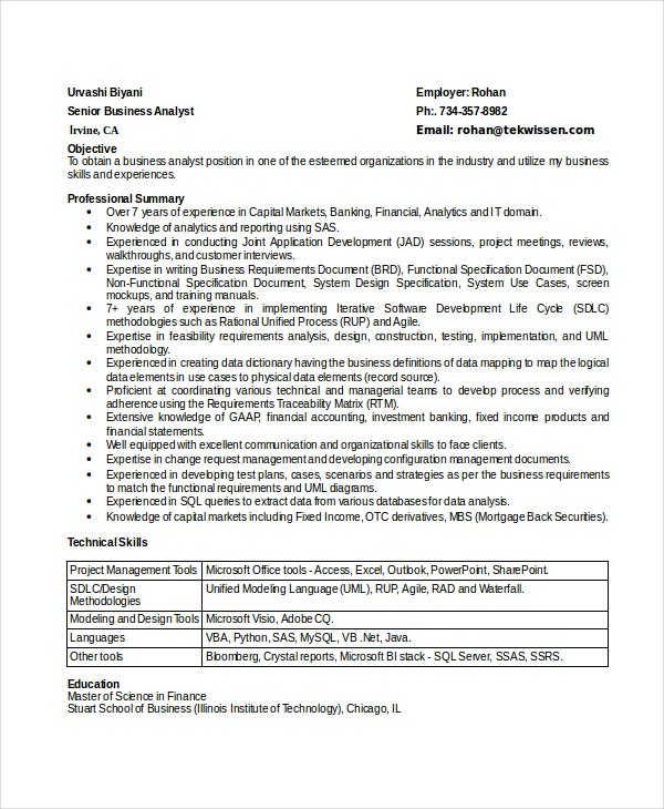 business analyst resumes free sample example format premium templates resume for Resume Resume For Experienced Business Analyst