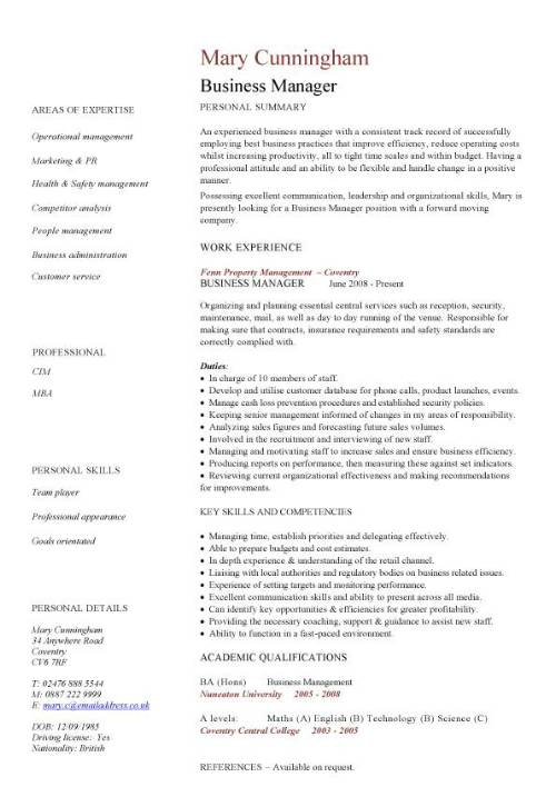 business manager cv sample time management resume organizing motivating and controlling Resume Business Manager Resume