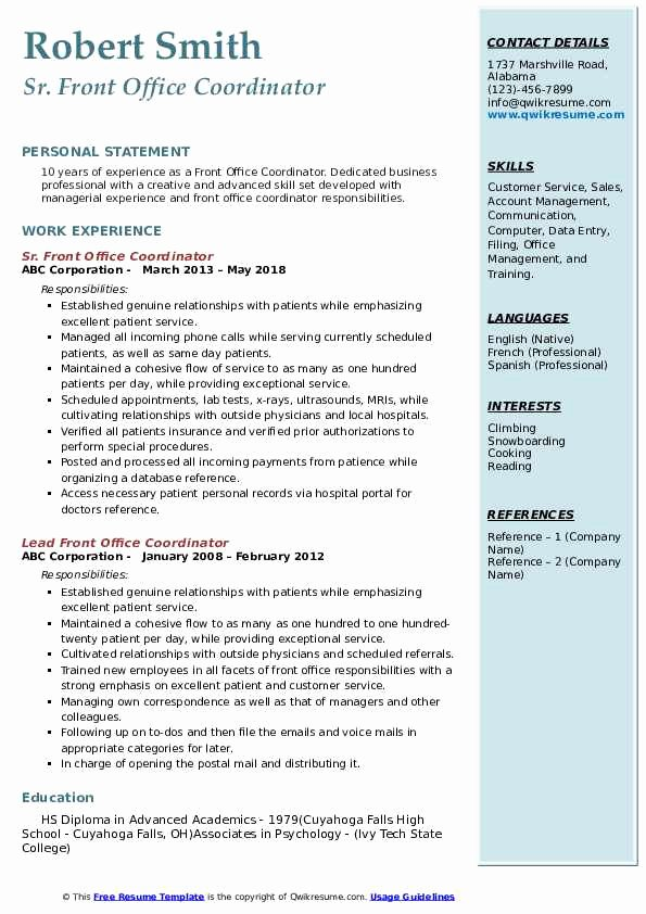 business office coordinator resume elfaro clinical administrative beautiful front samples Resume Clinical Administrative Coordinator Resume