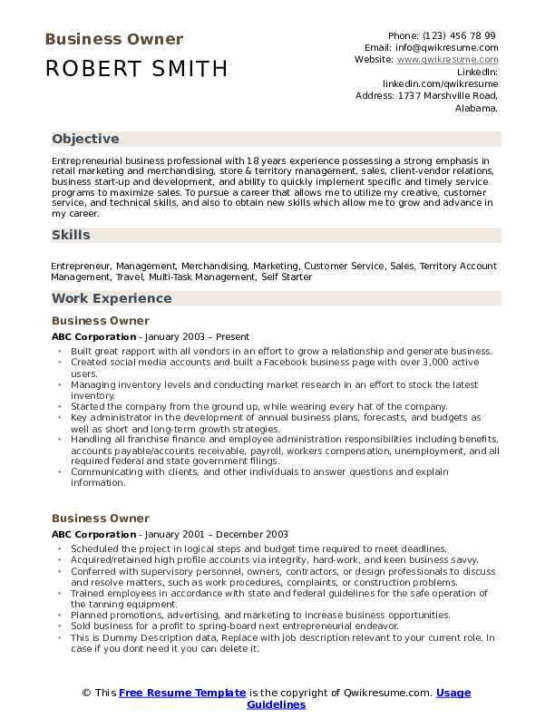 business owner resume samples qwikresume template pdf law professor perfect login finance Resume Business Owner Resume Template