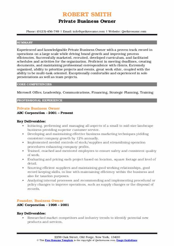 business owner resume samples qwikresume template pdf sap security audit retail assistant Resume Business Owner Resume Template