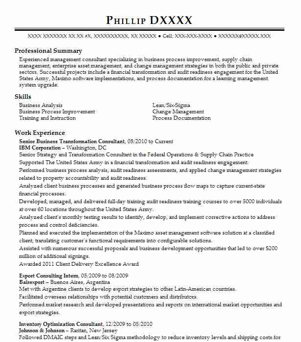 business transformation consultant resume example avon products inc sample enterprise Resume Business Transformation Resume Sample