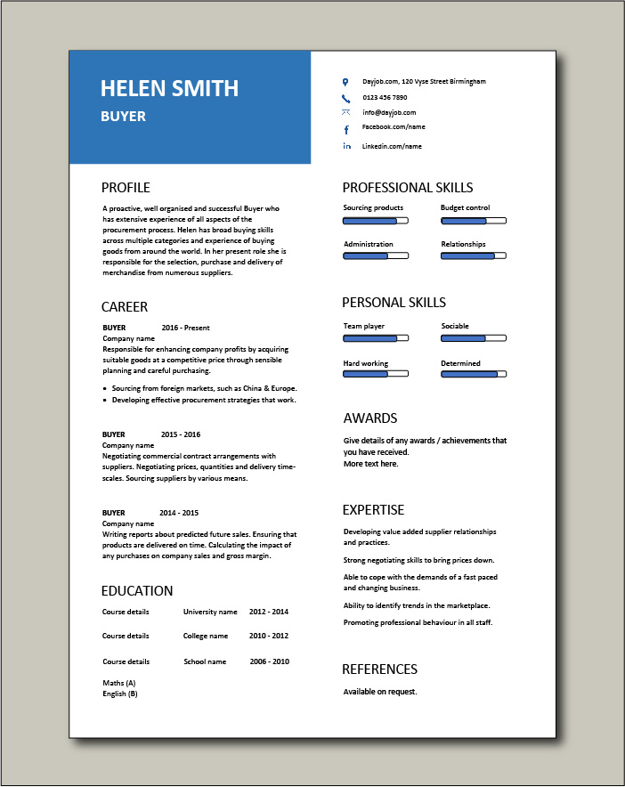 buyer resume sample template example job description skills retail career history Resume Resume Categories Skills