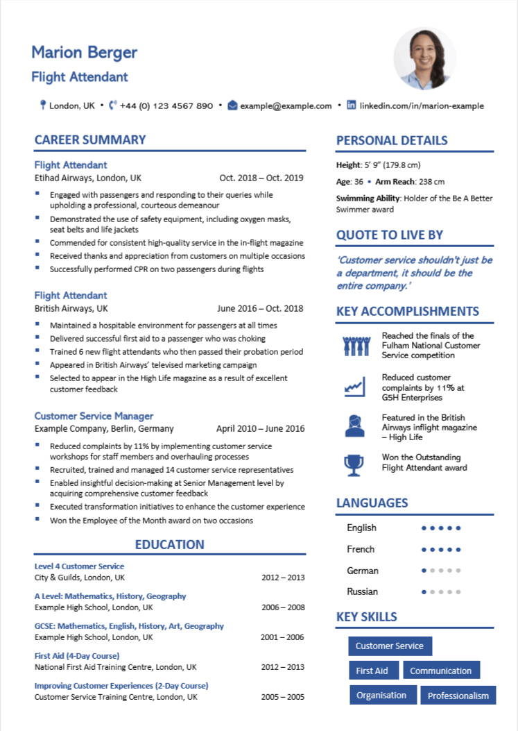 cabin crew cv examples writing guide flight attendants nation resume format for attendant Resume Resume Format For Flight Attendant