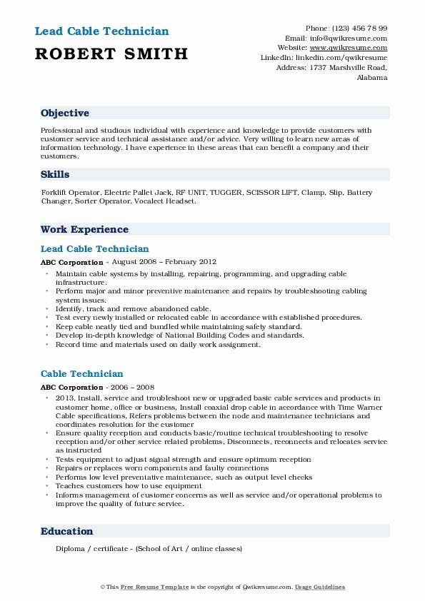 cable technician job description resume luxury samples in network cover letter order Resume Cable Technician Resume