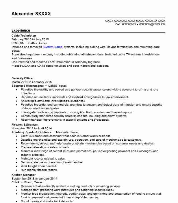 cable technician resume example livecareer objective for analyst position graduate school Resume Cable Technician Resume