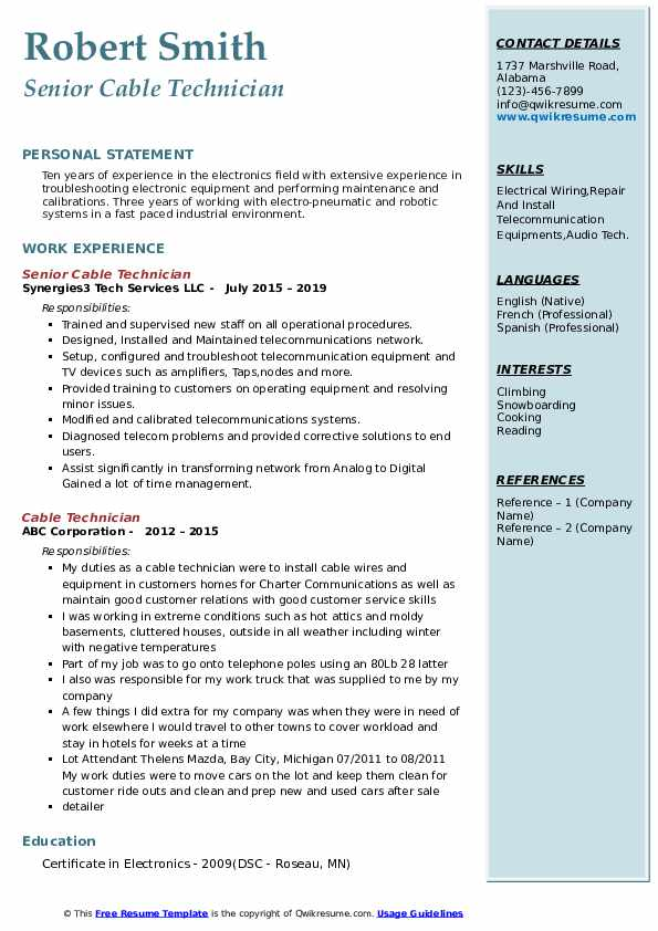 cable technician resume samples qwikresume pdf objective for analyst position should you Resume Cable Technician Resume