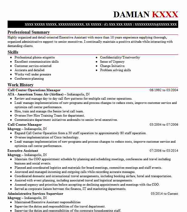 call center operations manager resume example livecareer format for assistant bpo web Resume Resume Format For Assistant Manager Operations Bpo