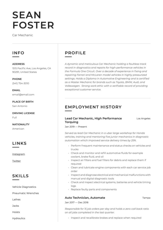 car mechanic resume guide examples self employed auto scaled cleaner job description for Resume Self Employed Auto Mechanic Resume
