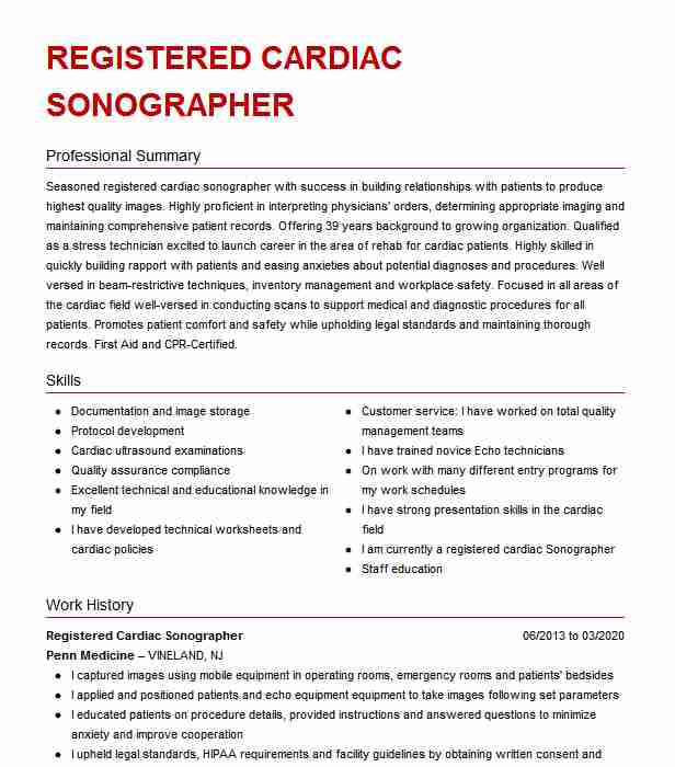 cardiac sonographer echo technician resume example parma community general hospital Resume Cardiac Sonographer Resume Objective