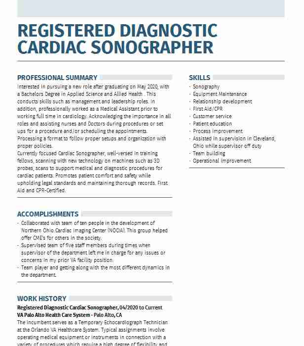 cardiac sonographer resume example university of pittsburgh medical center presbyterian Resume Cardiac Sonographer Resume Objective