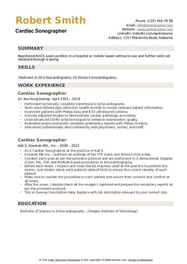 cardiac sonographer resume samples qwikresume objective pdf customer service experience Resume Cardiac Sonographer Resume Objective