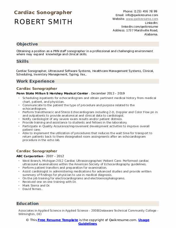 cardiac sonographer resume samples qwikresume objective pdf skills excel simple template Resume Cardiac Sonographer Resume Objective
