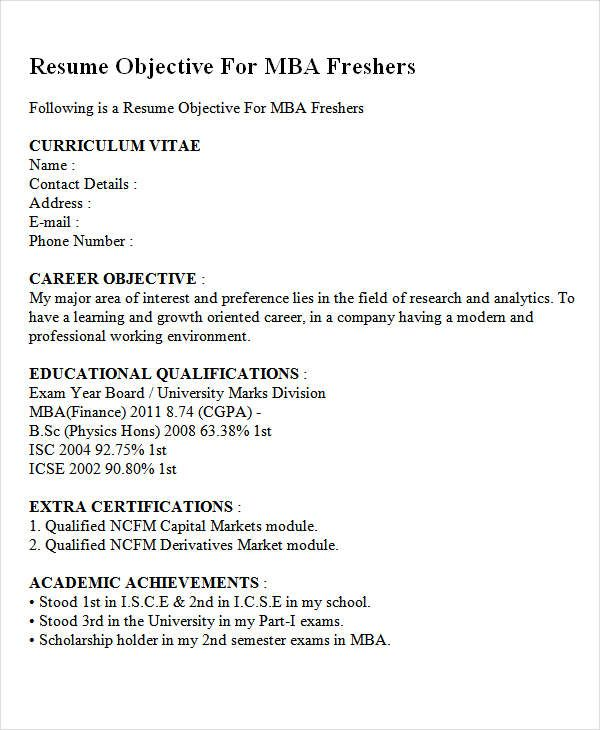 career objective for mba finance fresher objectives resume downloadable template Resume Excellent Career Objective For Resume
