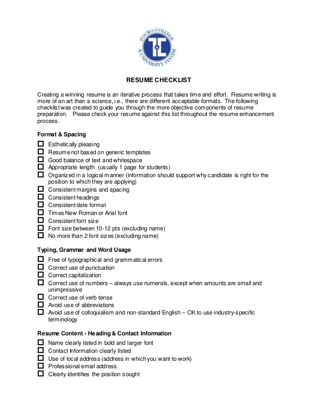 career services resume checklist for writing entry level mental health data analyst Resume Checklist For Resume Writing