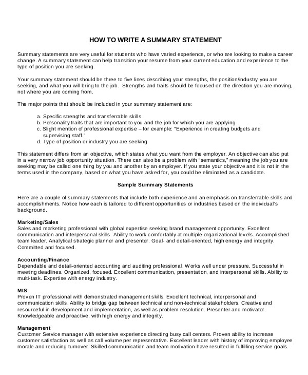 career summary examples pdf resume writing statement assistant principal cover letter Resume Resume Writing Career Summary