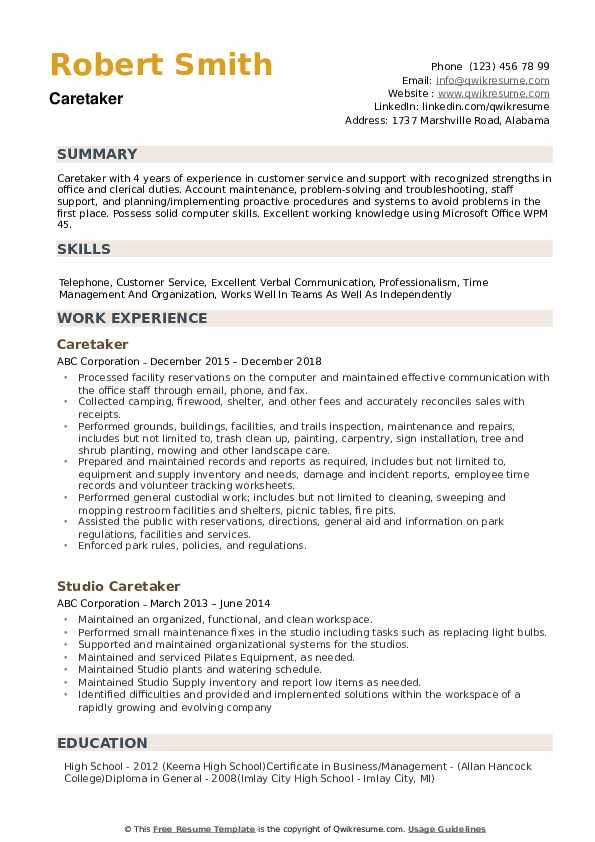 caretaker resume samples qwikresume sample pdf education project manager etl data analyst Resume Caretaker Resume Sample