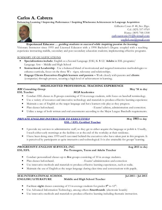 carlos cabrera private english teacher resume licensed professional best font for rest Resume Licensed Professional Teacher Resume