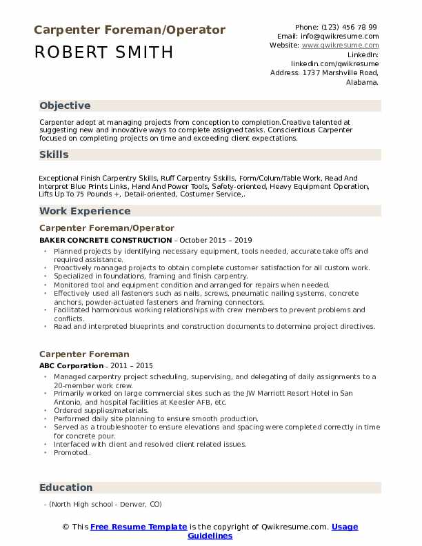carpenter foreman resume samples qwikresume objective pdf examples of career highlights Resume Carpenter Objective Resume