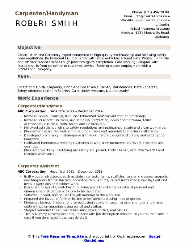 carpenter resume samples qwikresume examples pdf aux customer service example Resume Carpenter Resume Examples
