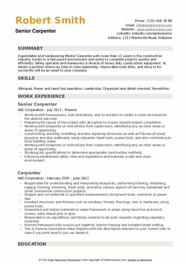 carpenter resume samples qwikresume examples pdf marketing director aux customer service Resume Carpenter Resume Examples