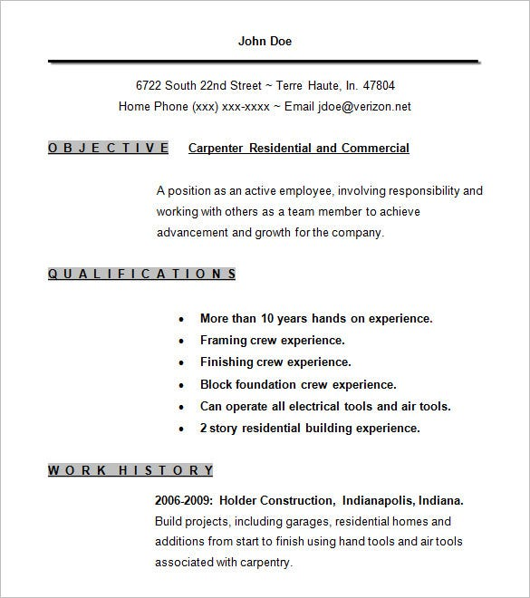 carpenter resume template free samples examples format premium templates standard word Resume Carpenter Resume Examples