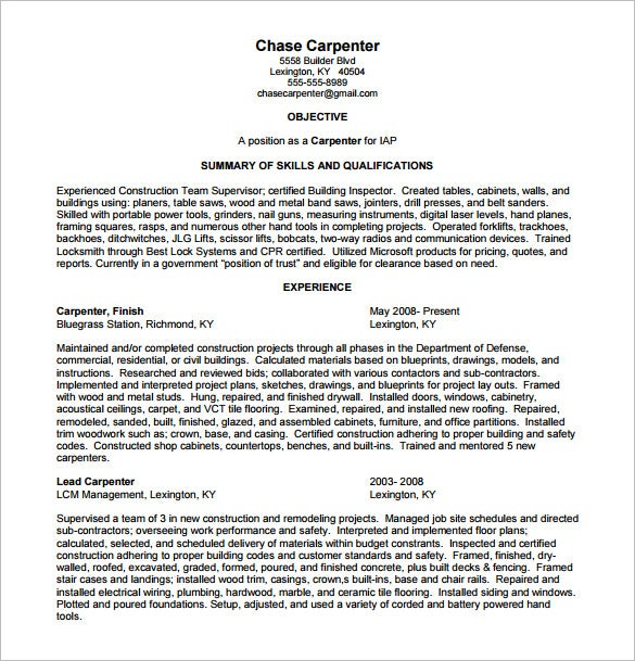 carpenter resume template free word excel pdf format premium templates objective Resume Carpenter Objective Resume