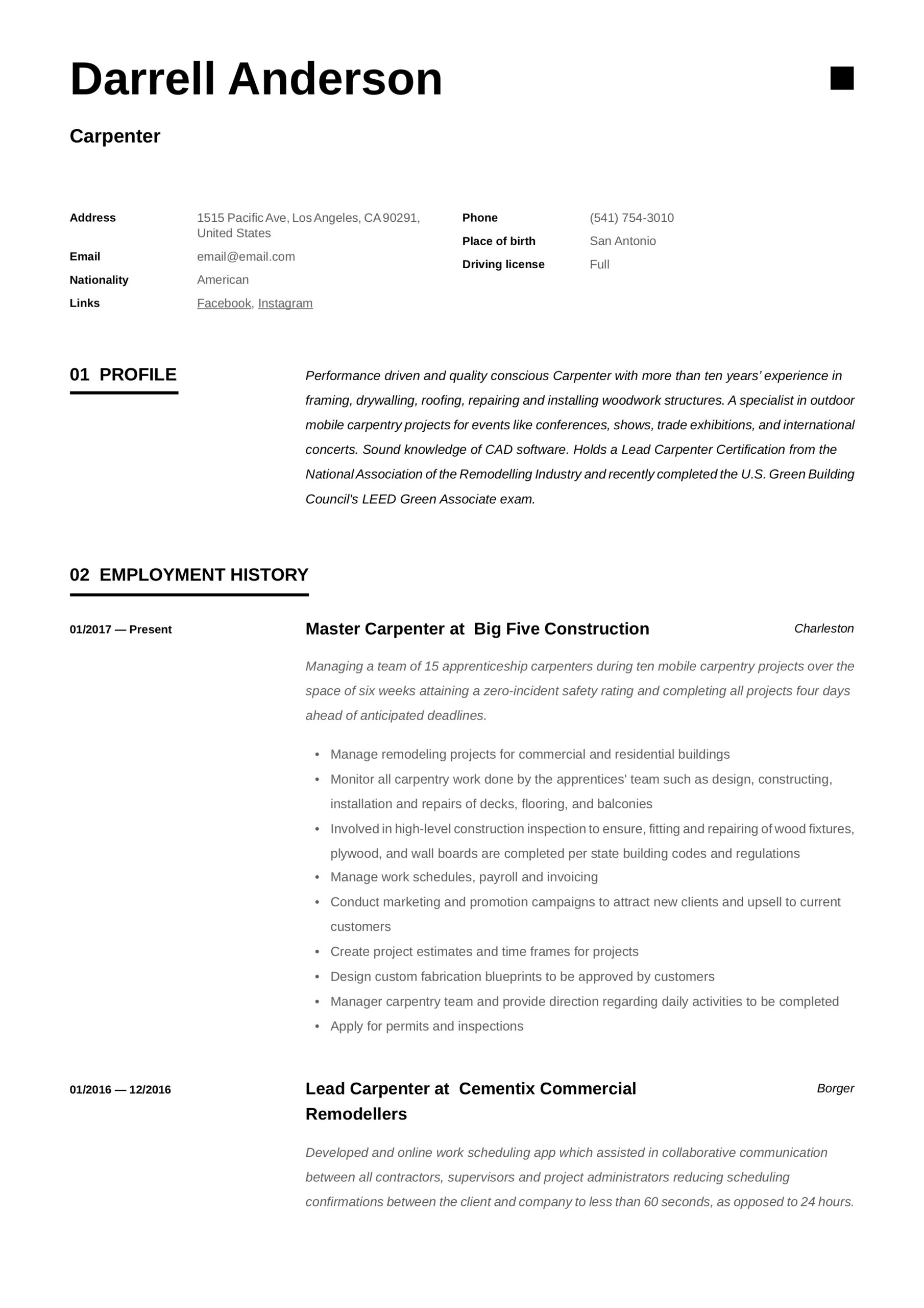 carpenter resume writing guide examples for back office job generic example quality Resume Carpenter Resume Examples