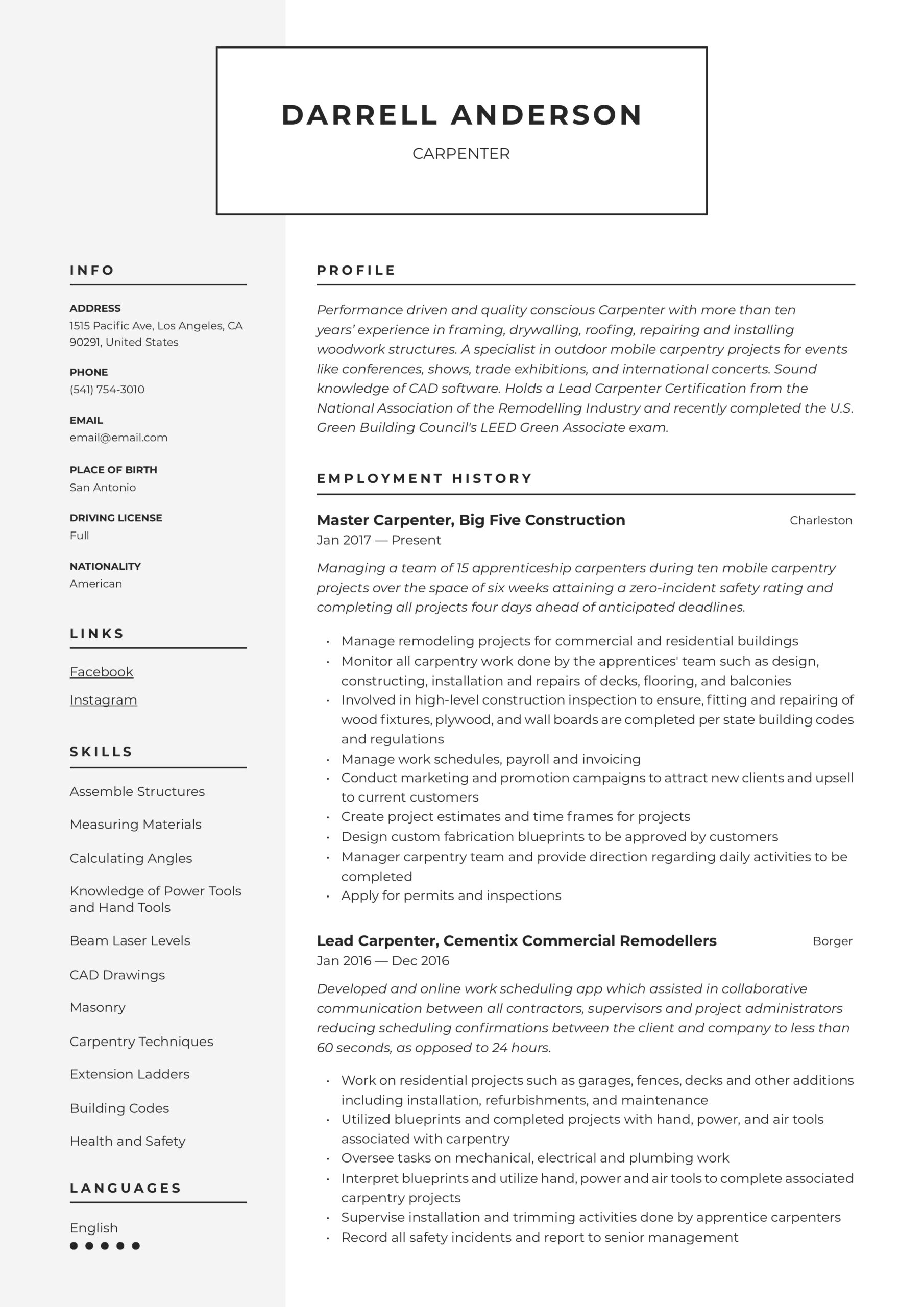 carpenter resume writing guide examples professional email address for curriculum vitae Resume Carpenter Resume Examples