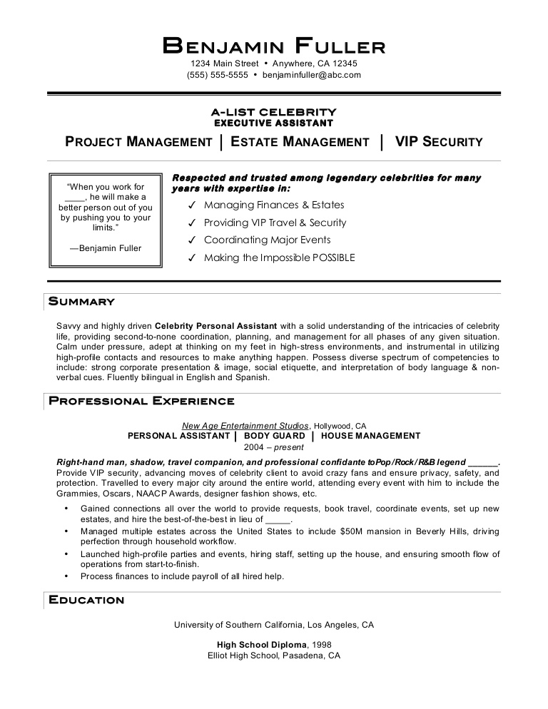 celebrity personal assistant resume by mia job description celebritypersonalassistant Resume Personal Assistant Job Description Resume