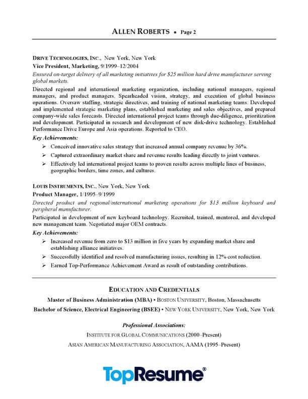 ceo executive resume sample professional examples topresume summary of example page2 Resume Executive Summary Of Resume Example