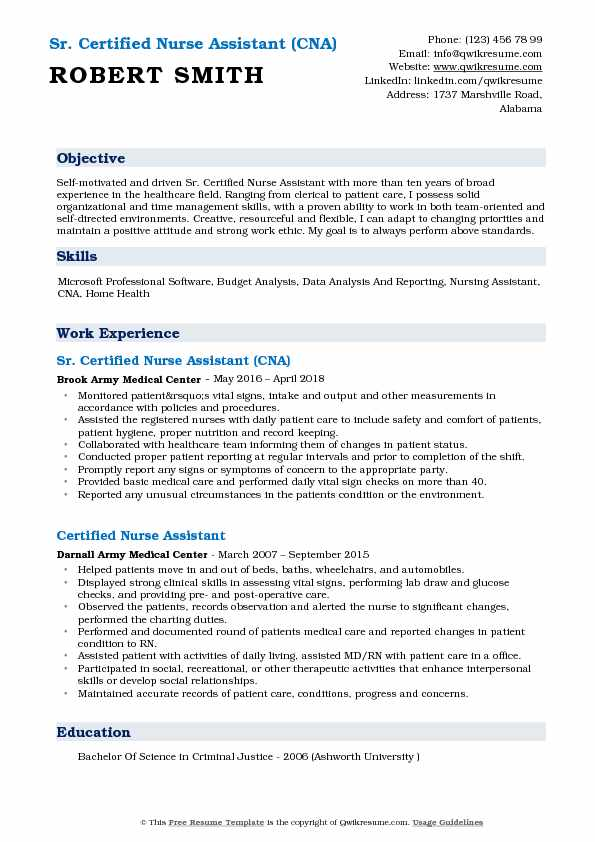 certified nursing assistant cna resume skills best examples and qualifications nurse pdf Resume Cna Resume Skills And Qualifications