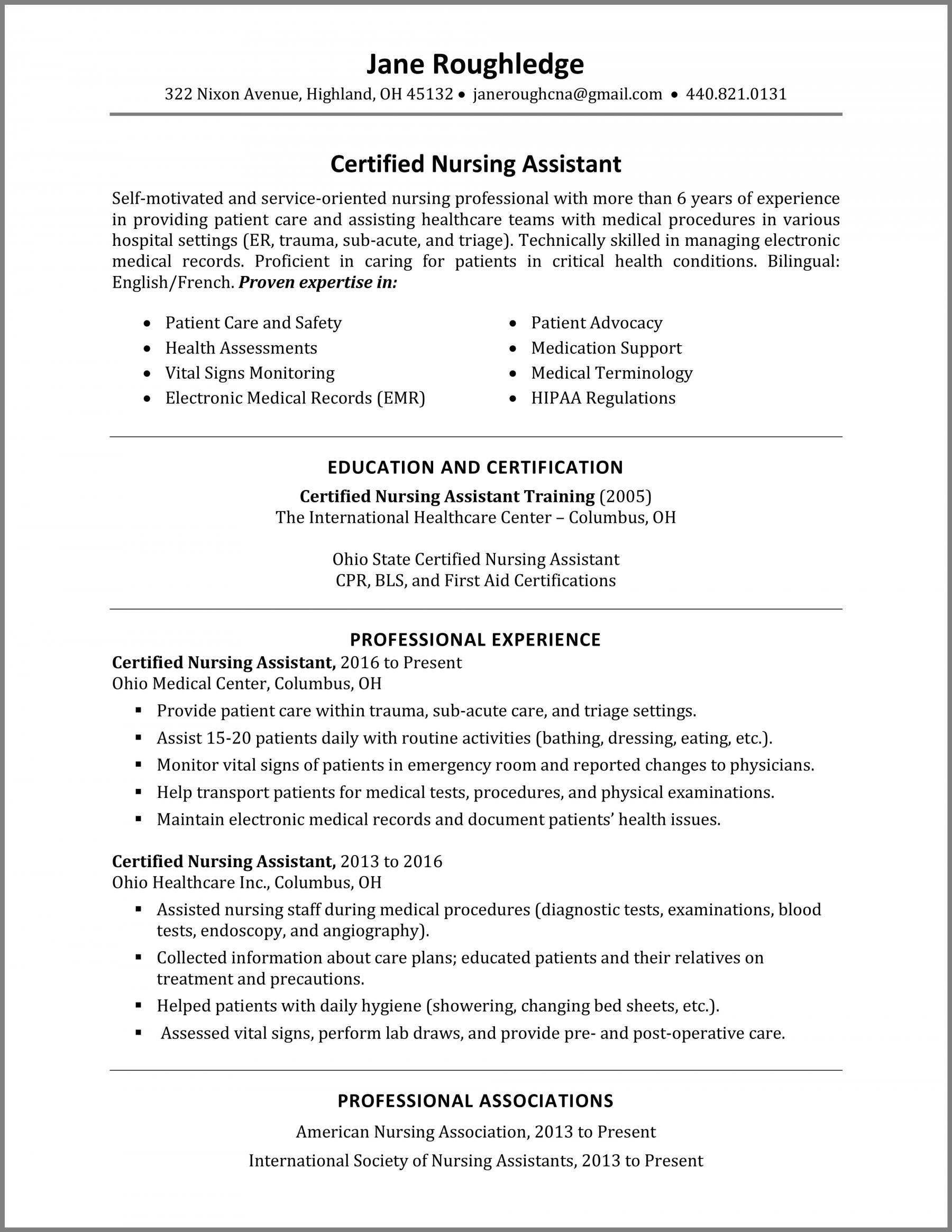 certified nursing assistant cna resume skills best examples and qualifications Resume Cna Resume Skills And Qualifications