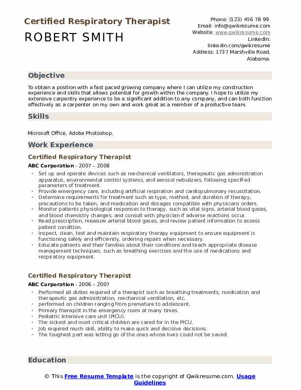 certified respiratory therapist resume samples qwikresume registered pdf technical Resume Registered Respiratory Therapist Resume