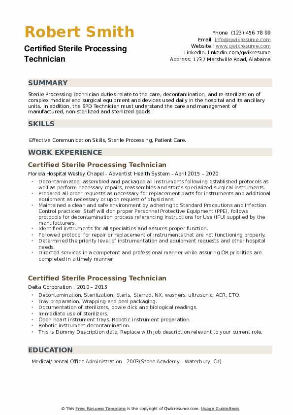 certified sterile processing technician resume samples qwikresume supervisor pdf catering Resume Sterile Processing Supervisor Resume