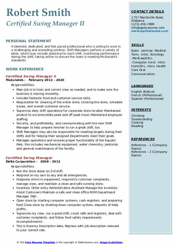 certified swing manager resume samples qwikresume mcdonalds pdf interests examples Resume Mcdonalds Swing Manager Resume