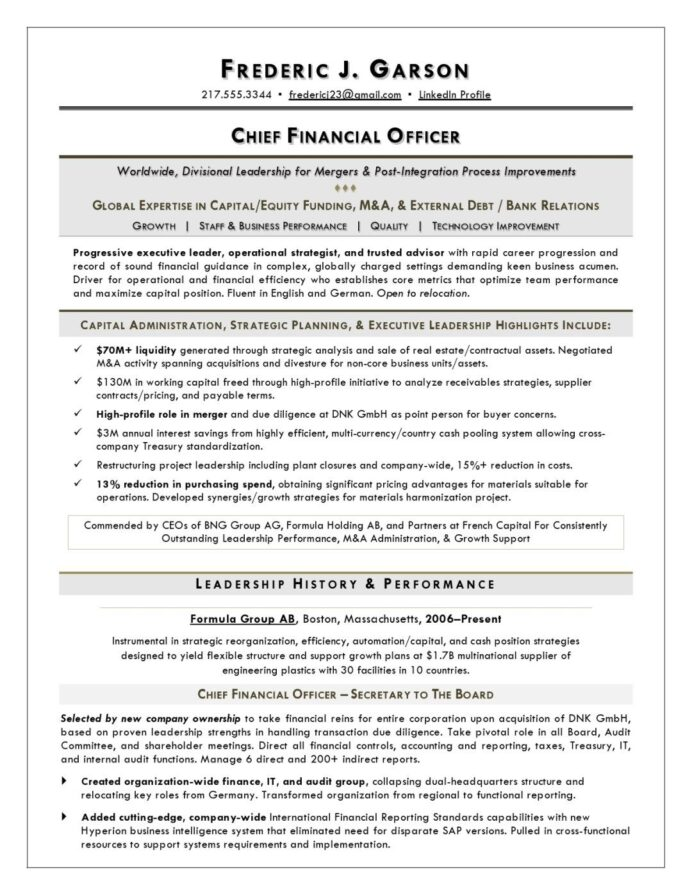 cfo resume sample examples cover letter for executive chief accounting officer minimalist Resume Chief Accounting Officer Resume