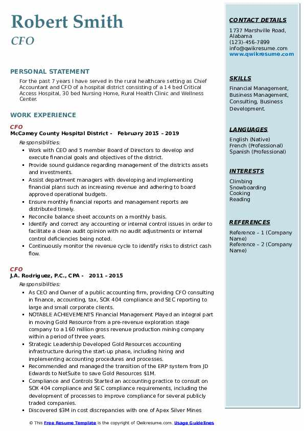 cfo resume samples qwikresume chief accounting officer pdf director of nursing student Resume Chief Accounting Officer Resume
