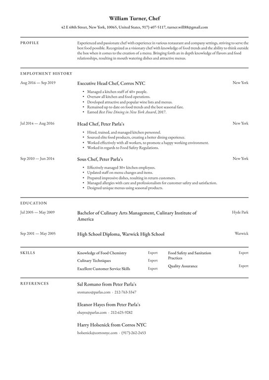 chef resume examples writing tips free guide io sample for cooks high school freshman Resume Free Sample Resume For Cooks