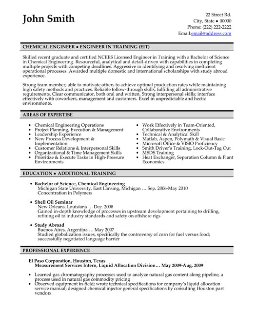 chemical engineer resume sample template engineering student in training pcu rn job Resume Engineering Student Resume
