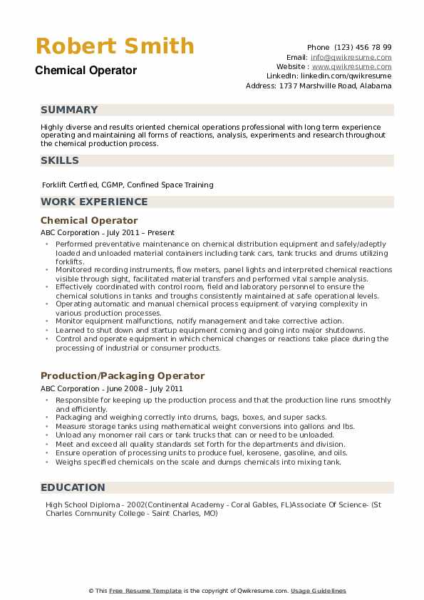 chemical operator resume samples qwikresume process pdf interests that look good on copy Resume Process Operator Resume