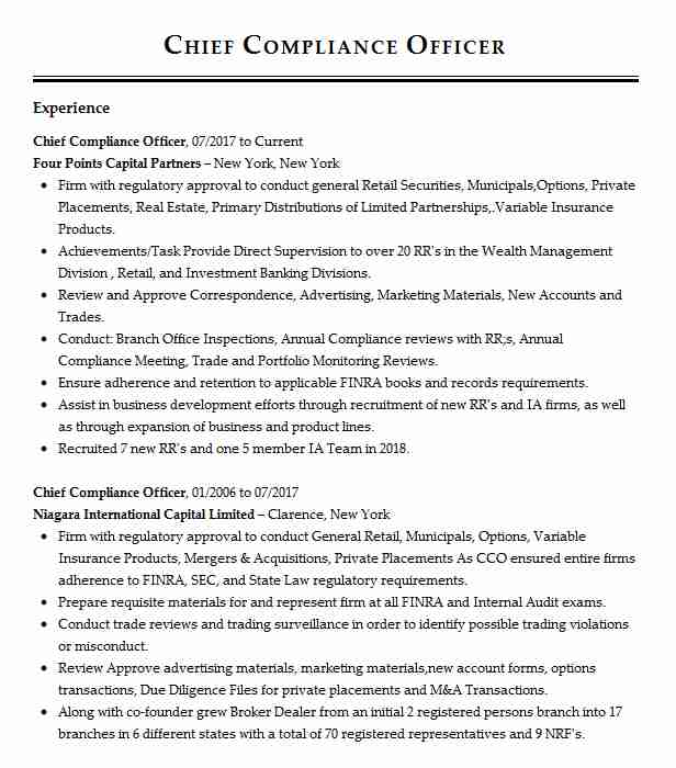 chief compliance officer resume example capital management ccm louisville specialist Resume Compliance Specialist Resume Objective