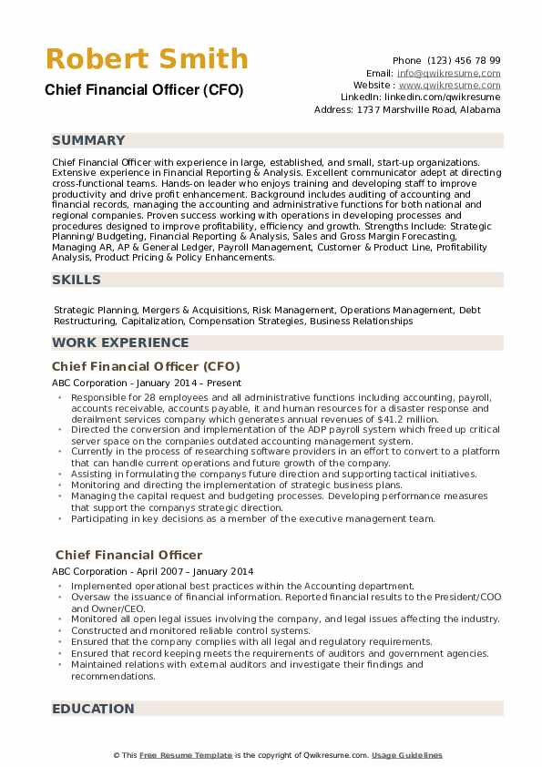 chief financial officer resume samples qwikresume accounting pdf director of nursing Resume Chief Accounting Officer Resume