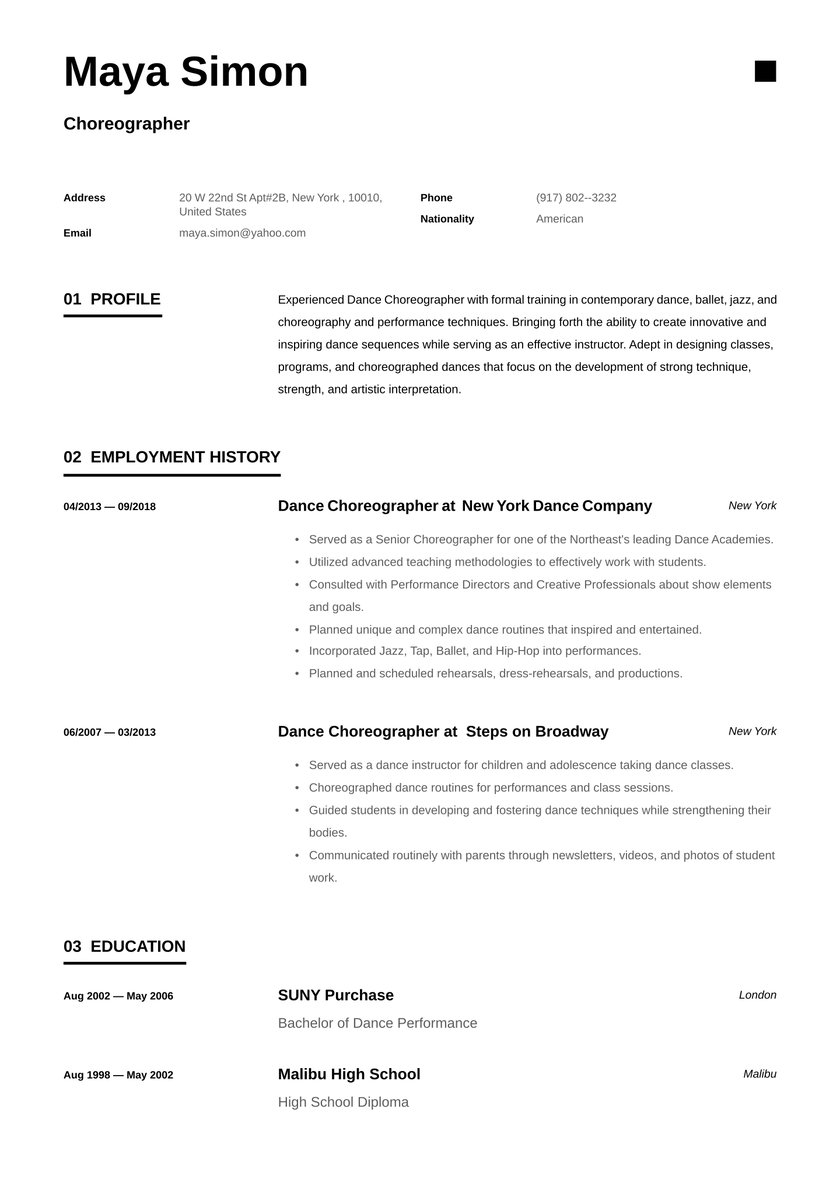 choreographer resume examples writing tips free guide io dance coach samples janitor Resume Dance Choreographer Resume