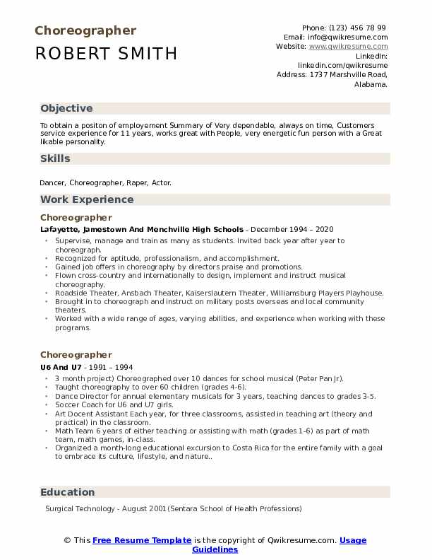 choreographer resume samples qwikresume dance pdf objectives for front desk position Resume Dance Choreographer Resume