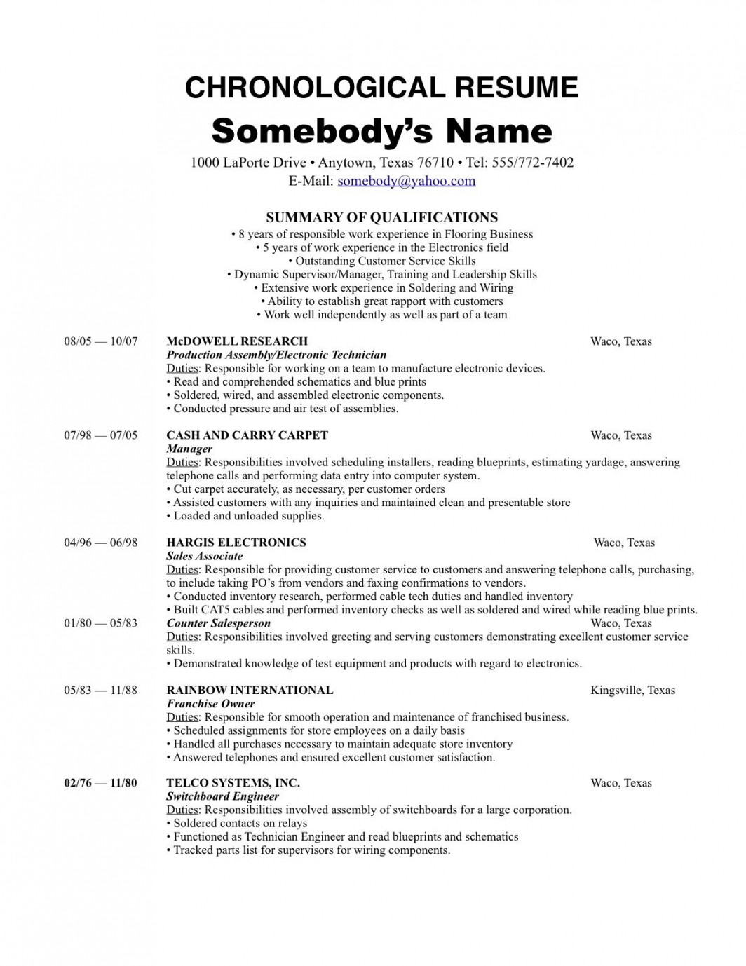 chronological resume traditional design template builder example order the most reverse Resume Chronological Resume Traditional Design