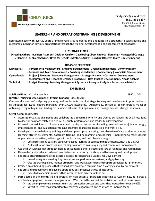 cindy joice resume for director of training and development file clerk sample instrument Resume Director Of Development Resume